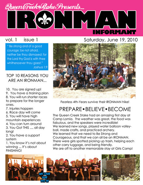 Girls Camp News Day1Pg1