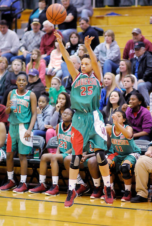 Anderson's Darien Thompson shoots from three-point range during the Girls' County Tournament Championship at Pendleton on Thursday.