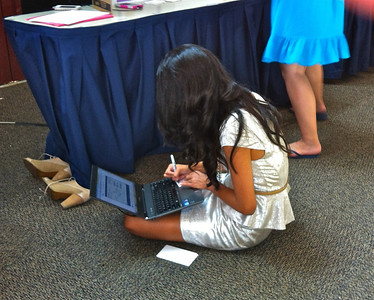 August 15, 2013. Angelica at the Buehler Alumni Center AGR Room.  Last minute, debugging.