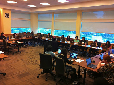 June 25, 2013.  First day of instruction for the Girls Who Code program. Classroom 1 in the UC Davis Athletics and Recreation Center (ARC).  Everyone logging on to Mooblenet.