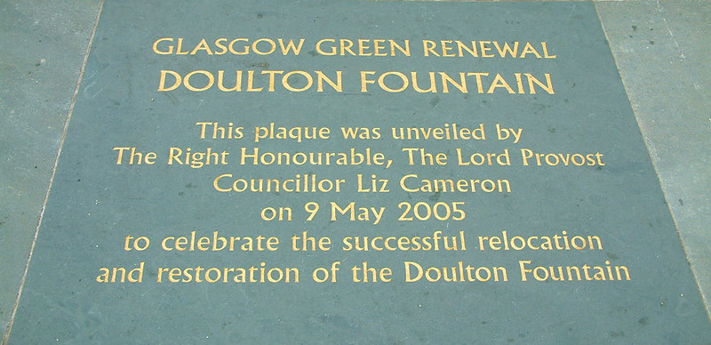 Glasgow Green - Doulton Fountain - commemorative stone