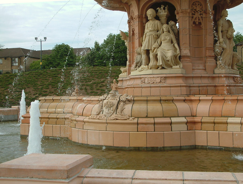 Glasgow Green - Doulton Fountain - Lower Basin and lower part of fountain with four highly detailed groups depicting the Dominions of the Empire - India, Canada, Australia and South Africa.