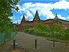The twin-towered Kelvin Hall on southern periphery of Kelvingrove Park.