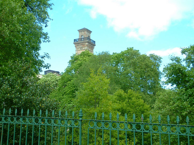 Tower of former Trinity College at Park from Kelvingrove Park