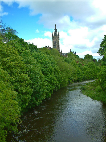 The River Kelvin and the tower of the University of Glasgow
