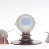 ET DT,1977<br /> Hand Blown Glass, Ball Bering, Copper Cones and Metal Spring