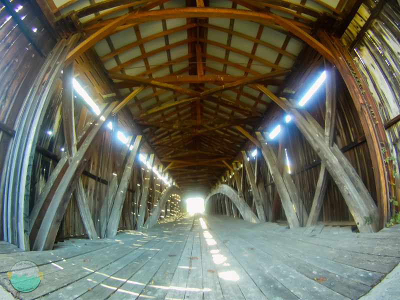 Covered Bridge Innards<br /> A shot with a GoPro of the inside of a covered bridge.