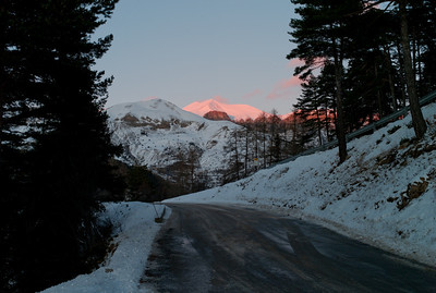 Sunset on the mountains, on the road to Valberg, France