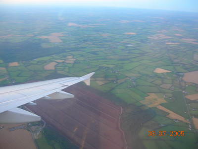 Plane wing over Ireland