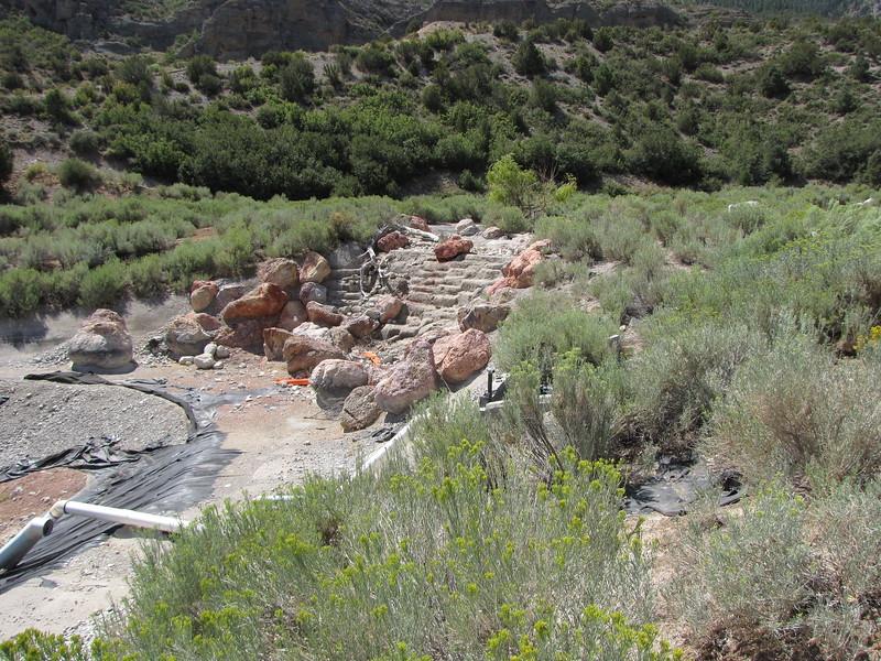 The waterfall rocks between the tool pools.