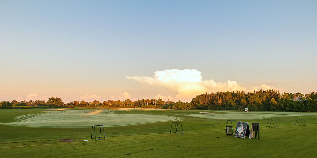 The Practice Range at Raptor Bay Golf Club in Bonita Springs, Florida