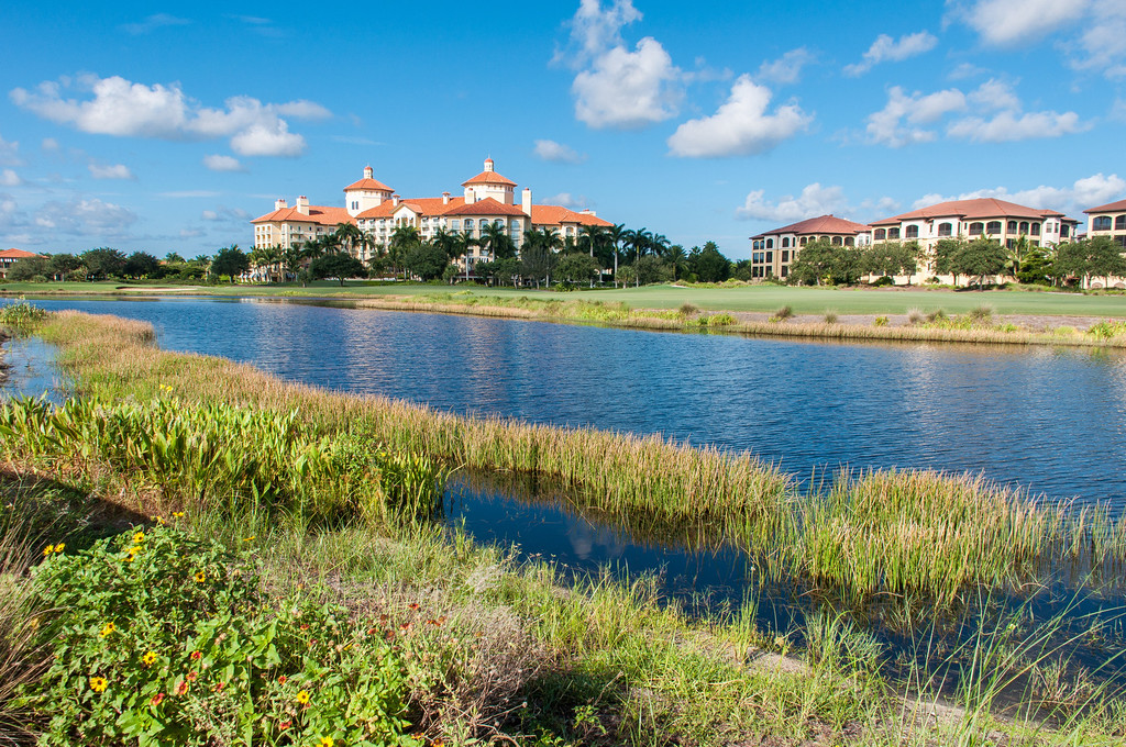 Ritz Carlton Naples and the 18th hole at Tiburon Golf Club