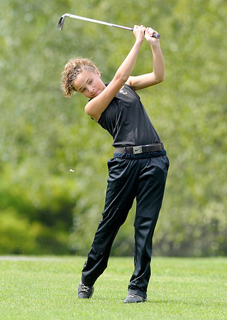 Lapel's Natalia Campbell watches her tee shot at the 17th hole.