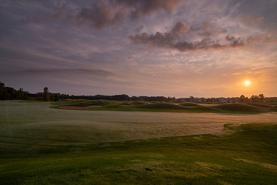 Sunrise on the Dogleg of #1 | Loggers Trail Golf Course