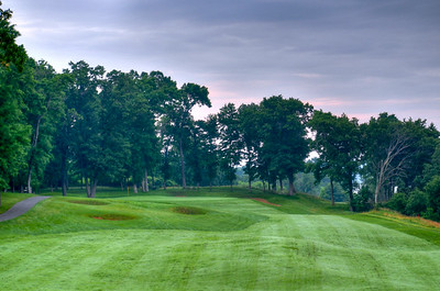 Fairway to the green on hole #1 at Mississippi Dunes Golf Links in Cottage Grove, MN.