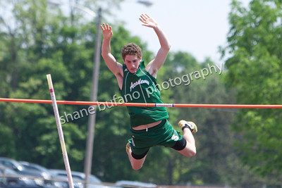 Nate Solnit of St. Johnsbury performs in the Boys Pole Vault final at the Vermont High School Track and Field State Championship at Burlington High School on Saturday June 1st, 2013.
