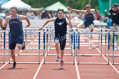 Alec Eschholz of MMU runs in the 110 Meter Hurdle Final at the Vermont High School Track and Field State Championship at Burlington High School on Saturday June 1st, 2013.