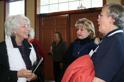 Those who attended the dedication included the principal of Sacred Heart School, Catherine Warwick (center)