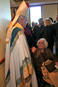 The bishop visits before mass