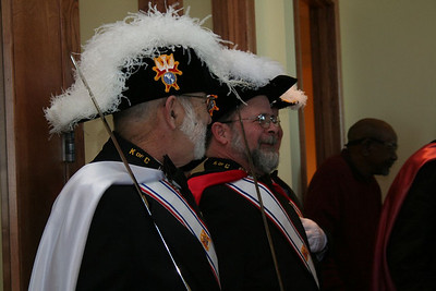 Members of the Knights of Columbus before mass