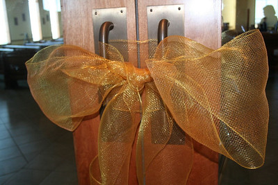 The doors to the church remain sealed until the ceremony begins.