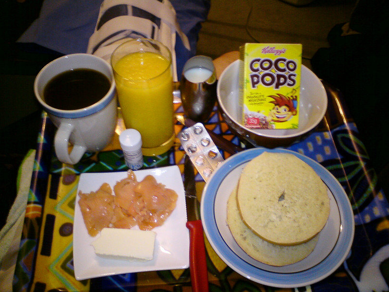 mmm breakfast on the couch with a side of powerful painkillers. I have an awesome girlfriend.