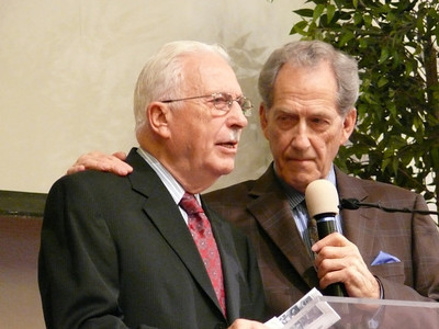 "Pioneer and founder of Gospel Outreach, Frank Stanyer (left), being interviewed by Elder Dan Matthews.  Dan Matthews does many of the interviews for the ""Adventures in Missions"" TV program seen on 3ABN, HOPE and LLBN satellite networks."