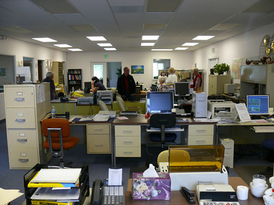 Part of the office at Gospel Outreach in College Place, Washington State, USA.  All the workers in administration are volunteers.  The only paid workers are the nationals out in their own countries who receive a living allowance or stipend.