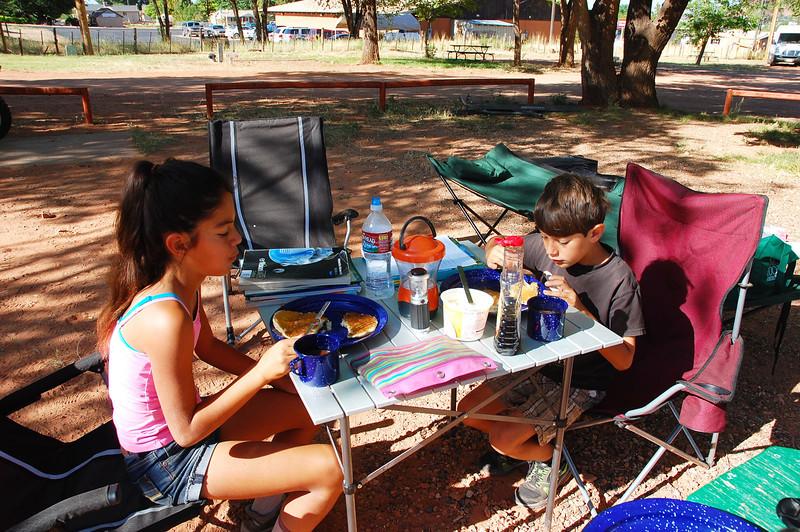 Breakfast at Crazyhorse campground in Kanab, Utah.