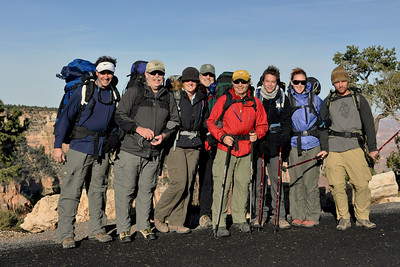 Here we go! At the South Kaibab trail-head ready for our decent from the South Rim into the canyon.