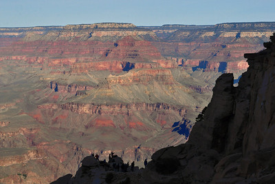 On the dark side ~ Early Morning light hasn't hit the south side ... these folks at the aptly named 'Ooh Aah Point' look awfully small silhouetted against the vast Grand Canyon.