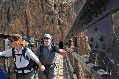 On the Kaibab Suspension Bridge over the Colorado River.