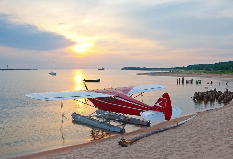 The sun rises on the Annual Splash-in,Grand Marais Michigan.
