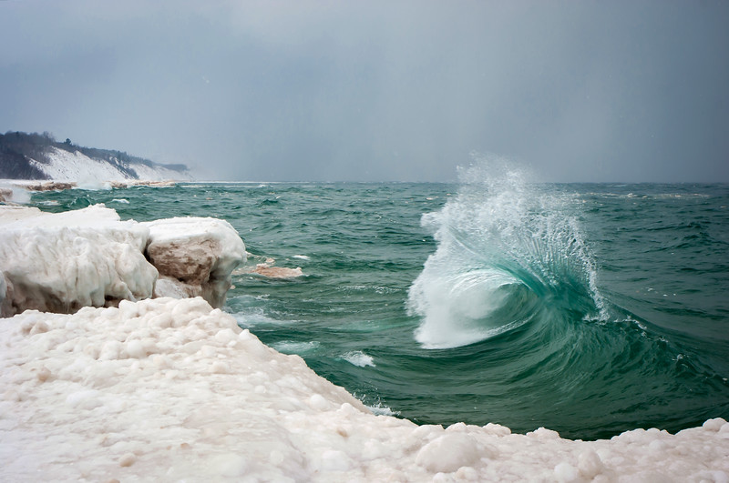Winter waves crashing on Agate Beach near the town of Grand Marais and the Pictured Rocks National Lakeshore.
