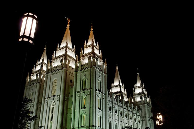 Mormon Temple at Night - Salt Lake City