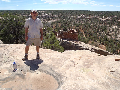 Me with watchtower ruin, and the view to the top of Bullet Canyon.