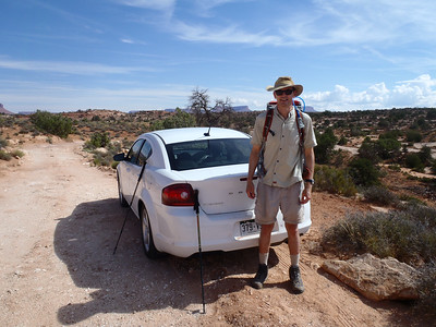 Peter with the trusty Dodge Avenger rental unit.