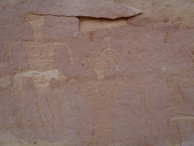 Close-up of petroglyphs, Grand Gulch alcove.