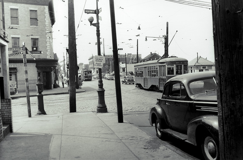 Metropolitan Avenue at Fresh Pond Road looking west. The only