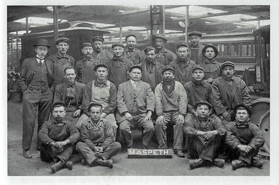 The Maspeth Trolley Barn was located at Borden Avenue and Brown Place. Part of it sat in the path of the Long Island Expressway. Frontera Park was eventually built on the rest of its footprint.  Pictured are the men who  worked in the trolley barn during the 1930s - men who were lucky to have had work during the Great Depression.