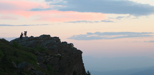 Colleagues on the mountain, shooting southeast--Catching the colors on the clouds with the light from the west.
