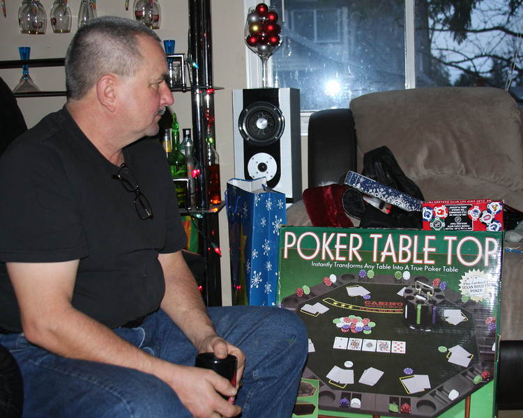 Pappy and his Poker Table from Kat!!