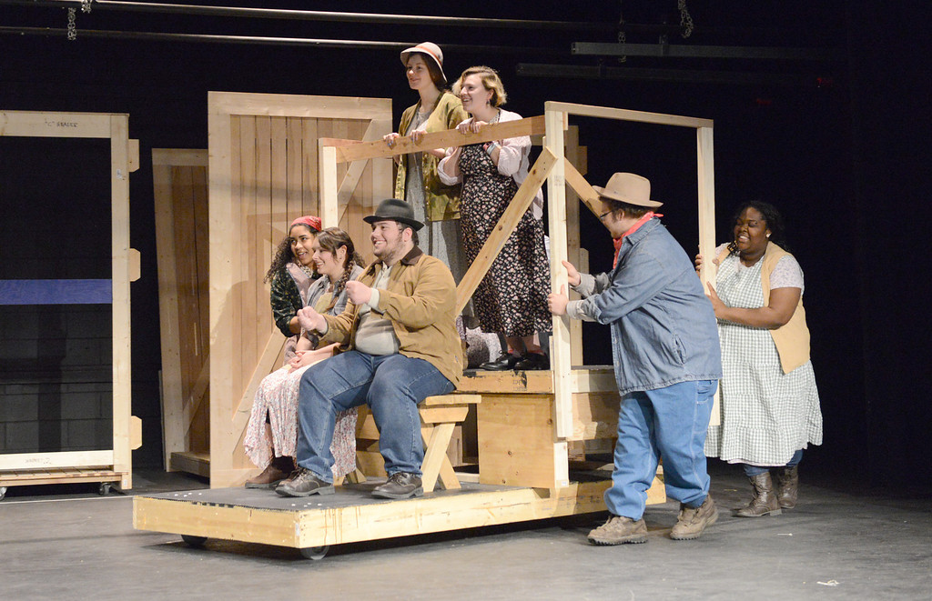 """. Tania Barricklo-Daily Freeman                      A rehearsal of the scene when the Joads are traveling from Oklahoma to California in their Jalopy. From left are: Rebecca Rich of Kingston, Abbey Ressa of Saugerties,Daniel DelPriore of Kingston, Rachel Lennox of Woodstock, Victoria \""""Raine\"""" DiIorio of New Paltz, Elijah DiIorio of KIngston, and Quayeshawna Smith of Highland."""