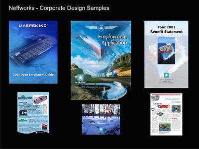 Neffworks handles all aspects of producing electronic files used in corporate settings as shown in these examples.   Click image to enlarge.