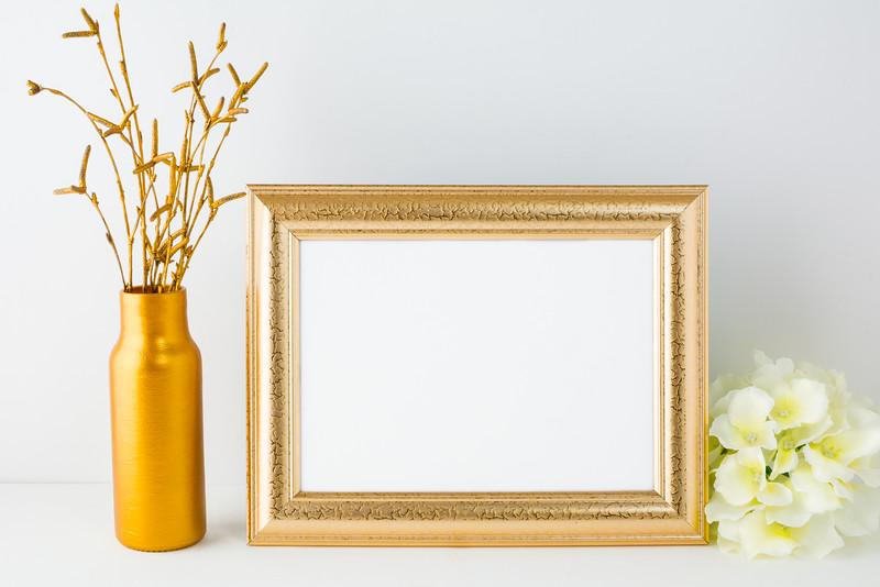 Landscape gold frame mockup
