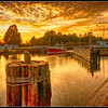 Sunset on the Great Bridge Lock, located on the Albemarle and Chesapeake Canal