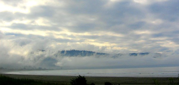 Early Morning Near Crescent City, California. We stayed in an RV park about a mile from here, on the bay. We went to sleep with seals barking in the distance and waves crashing against the shore. Very peaceful.