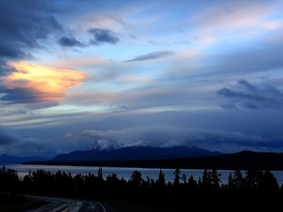 Sunset over Teslin Bay, Yukon