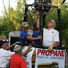 Propane Exceptional Energy Balloon Pilot prepares the propane burners for liftoff on Sunday morning of the Great Texas Balloon Race in Longview (2009).