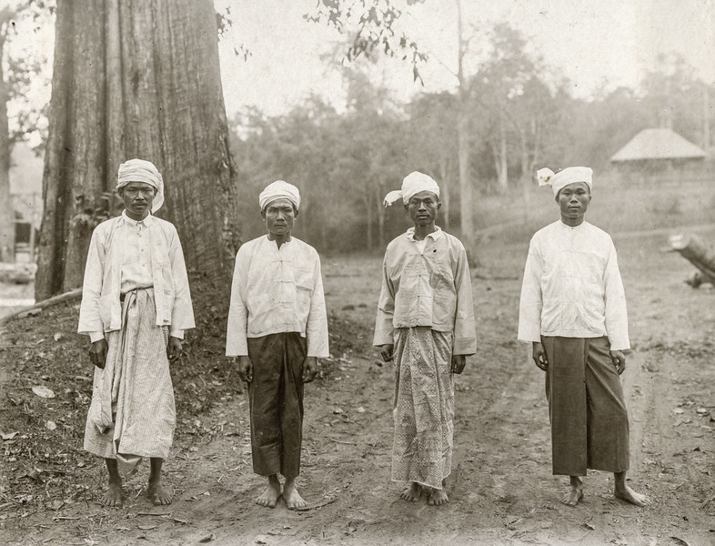 """""""Some types of contractors and headmen. From L to R a Burman from Pyinmana, a Lao from Luang Prabang Siam, a Burman, head sinoke of the district and responsible for at least 3 murders by his own hand in Siam, where he has done 2 years and a Shan - Chinese Contractor."""""""